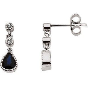 Blue Sapphire & Diamond<br> Earrings
