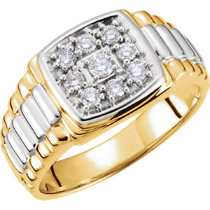 14K White & Yellow 3/8 CTW Diamond Men's Ring