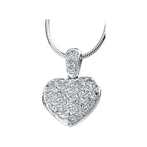 Cubic Zirconia Heart Locket Necklace