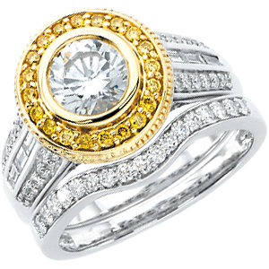14kt White & Yellow 1 A/4<br> ATW Diamond Engagement<br> Ring Size 7