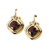 Genuine Mozambique Garnet and Diamond Earring