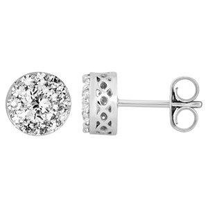 14K White 1 1/3 CTW Diamond Fantasy™ Cluster Earrings