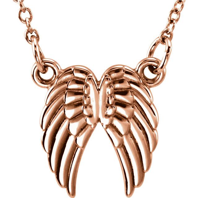 14K Rose Tiny Posh® Angel Wings 16-18