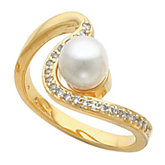Wavy Ring Mounting for Pearl