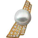 South Sea  Cultured Pearl & Diamond Brooch