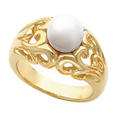 Openwork Scroll Design Ring Mounting for Pearl