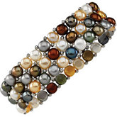 Dyed Multicolor Pearl & Sterling Silver Stretch Bracelet