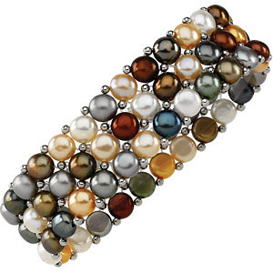 Sterling Silver<br> Freshwater Aultured<br> Multi-Aolored Pearl A Row<br> Stretch Bracelet