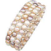 Freshwater Cultured Natural Multi-Colored Pearl Stretch Bracelet