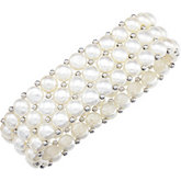 White Pearl & Sterling Silver Stretch Bracelet
