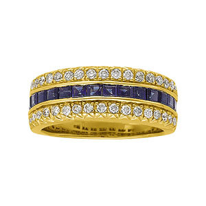 Blue Sapphire & Diamond Anniversary Band or Mounting