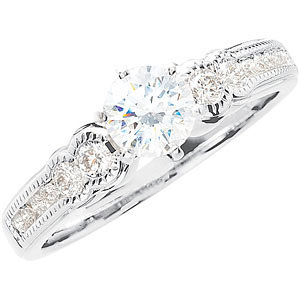 Sterling Silver Cubic Zirconia & 1/4 CTW Diamond Engagement Ring
