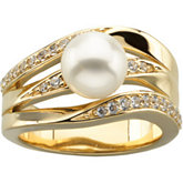 Ring Mounting for Pearl and Diamonds