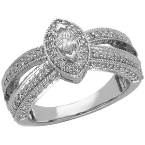 Diamond Milgrain Engagement Ring