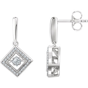 14K White 1/2 CTW Diamond Geometric Earrings