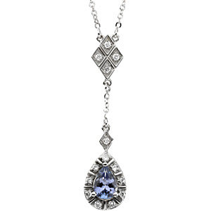 Genuine Tanzanite & Diamond Necklace