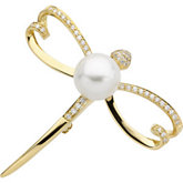 South Sea Cutlured Pearl & Diamond Dragonfly Brooch