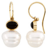South Sea Cultured Circle Pearl & Genuine Onyx Earrings