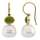 South Sea Cultured Pearl & Genuine Jade Earrings