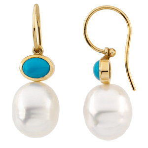 14kt White  x6mm<br> Turquoise Semi-Mount<br> Earrings for Pearls