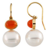 South Sea Cultured Circle Pearl & Genuine Carnelian Earrings