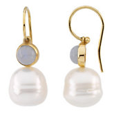 South Sea Cultured Circle Pearl & Genuine Chalcedony Earrings