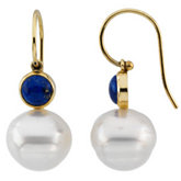 South Sea Cultured Pearl & Genuine Lapis Earrings