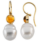 South Sea Cultured Circle Pearl & Genuine Citrine Earrings