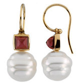 South Sea Cultured Pearl & Genuine Rhodolite Garnet earrings