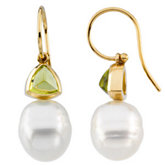 South Sea Cultured Circle Pearl & Genuine Peridot Earrings