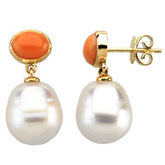 South Sea Cultured Pearl & Genuine Coral Earrings