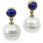 South Sea Cultured Circle Pearl & Genuine Lapis Earrings