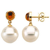 South Sea Cultured Pearl & Genuine Citrine Earrings