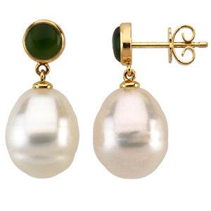 Round Nephrite Jade<br> Earrings