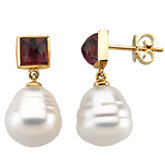 South Sea Cultured Circle Pearl & Genuine Rhodolite Garnet Earrings