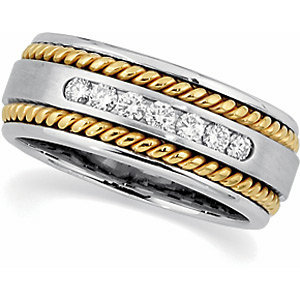 Two-Tone Diamond Rope Design Band