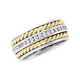 3/4 ct tw Diamond Two-Tone 8mm Handwoven Band