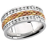 Hand-Woven 8mm Tri-Color Diamond Anniversary Band