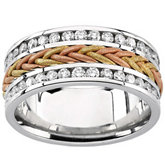 Diamond Tri Color 8mm Anniversary Band