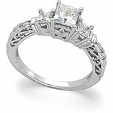 3-Stone Anniversary Princess-Cut Ring Mounting