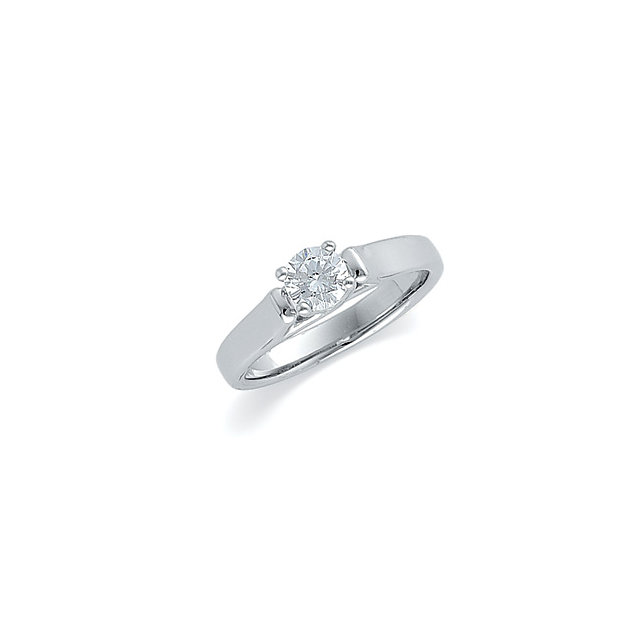 14kt White 1/2 CTW Diamond Round Solitaire Engagement Ring