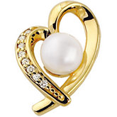 Akoya Cultured Pearl & Diamond Heart Pendant
