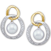 Akoya Cultured Pearl & Diamond Two-Tone Earrings