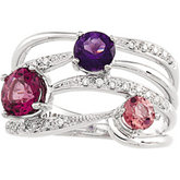 Genuine Multicolor Gemstone & Diamond Ring