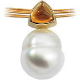 South Sea Cultured Circle Pearl & Genuine Citrine Pendant