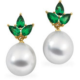 South Sea Cultured Pearl & Genuine Emerald Earrings