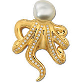 South Sea  Cultured Pearl & Diamond Octopus Brooch