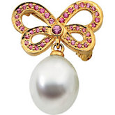 South Sea Cultured Pearl & Genuine Pink Sapphire Butterfly Brooch
