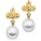 South Sea Cultured Pearl & Diamond Fleur-de-lis Earrings
