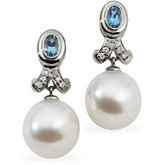 South Sea Cultured Pearl, Genuine Aquamarine & Diamond Earrings